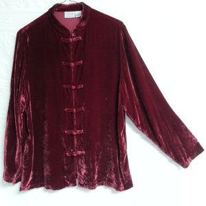 "Mandarin style collar velvet shirt top 42"" bust"